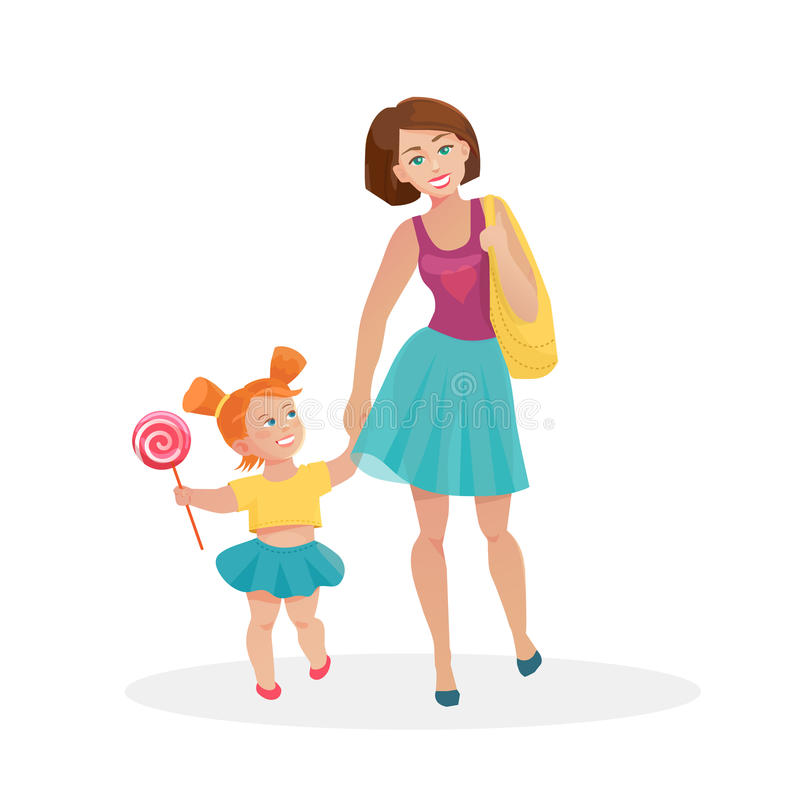 Mom and young daughter walking royalty free illustration