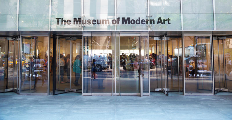 Moma entrance in New York. New York City, USA: the entrance of Museum of Modern Art (MoMA) from outside. It is often identified as the most influential museum of stock photo