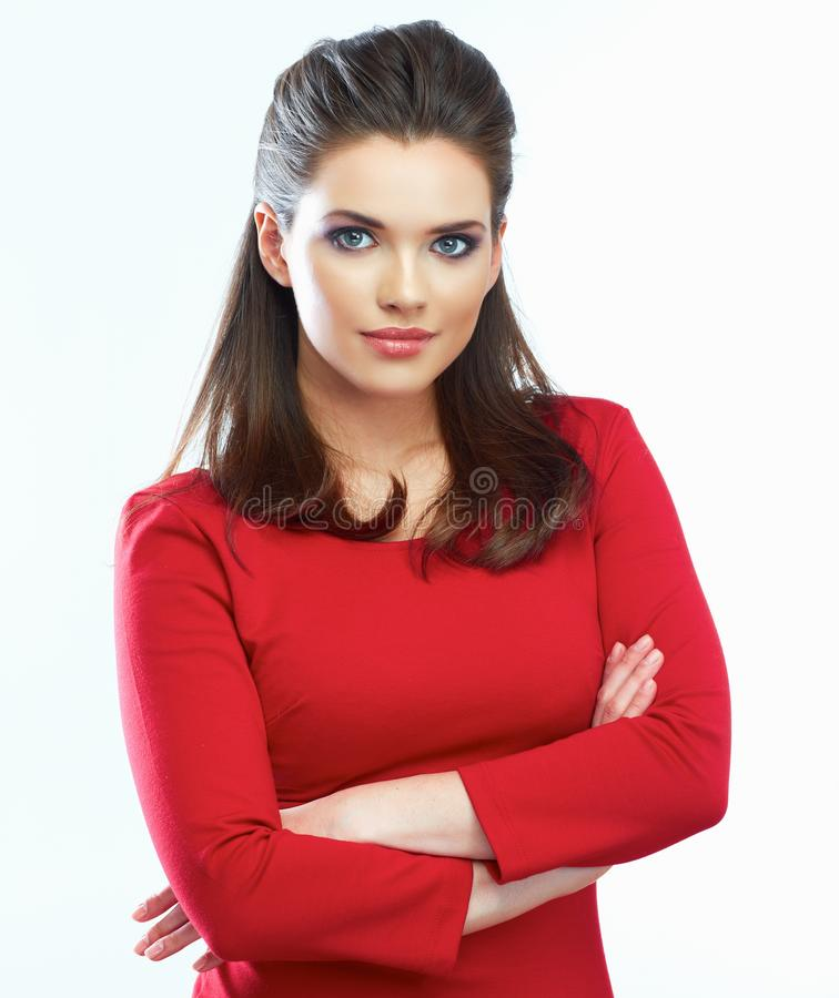 Momain red dress portrait. stock photography