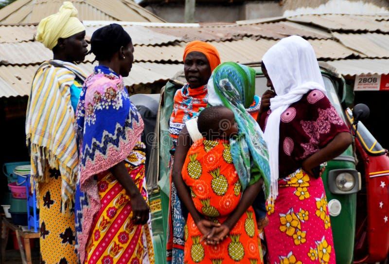 Mombasa / Kenya, Africa - 25 January, 2018: African women meet at the local market near Mombasa. Mombasa / Kenya, Africa - 25 January, 2018: African women meet royalty free stock photo