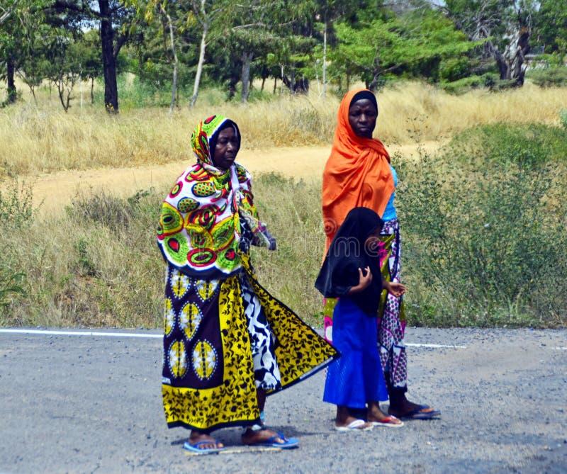 Mombasa / Kenya, Africa - 25 January, 2018: African women walking with a young girl. stock image