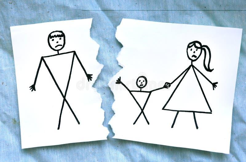 Mome con el dibujo del padre del divorcio del hijo ilustración del vector