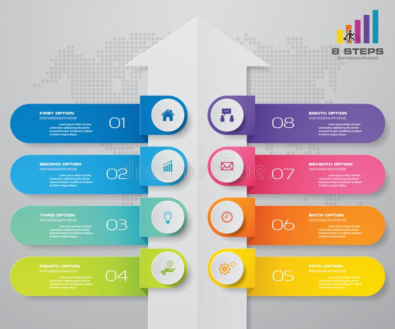 8 moment av den pilInfografics mallen För din presentation stock illustrationer