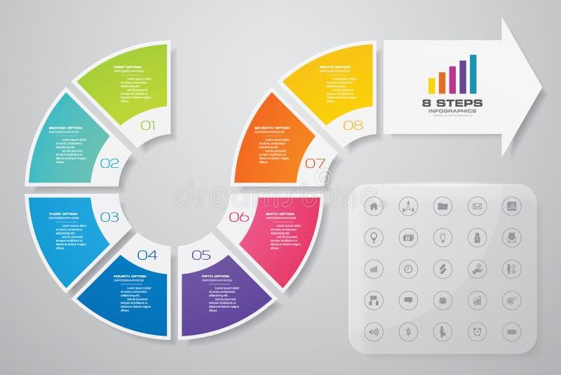 8 moment av den pilInfografics mallen F?r din presentation stock illustrationer