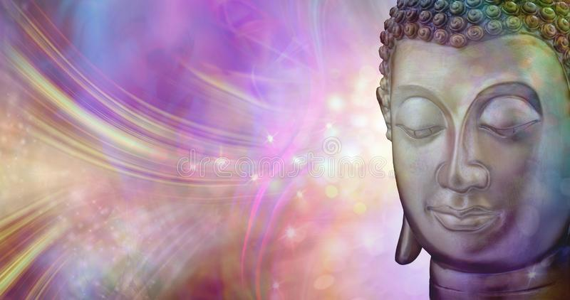 A moment of beautiful inspiration. Buddha head against a vibrant multicoloured sparkling glowing ethereal energy formation background with copy space royalty free stock photos