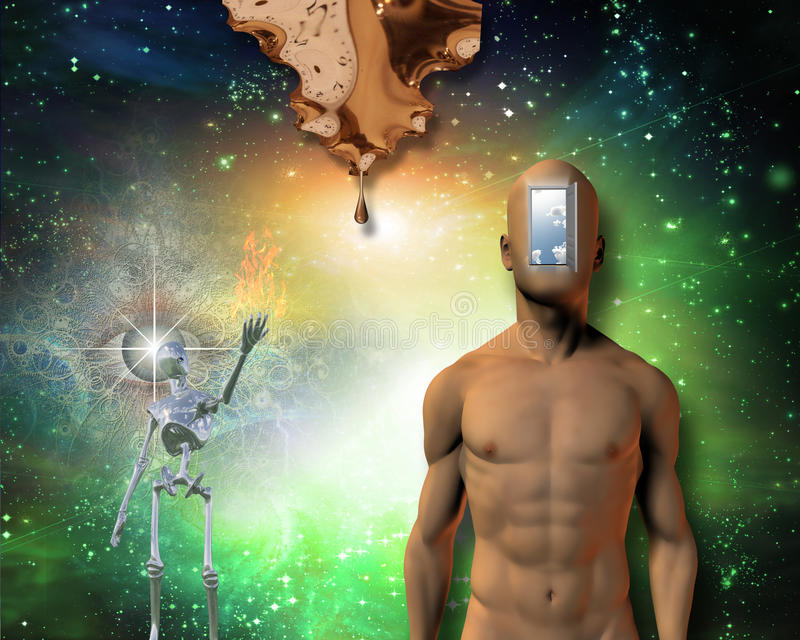 Moment of creation. Naked man with open door. Dali style. Some elements provided courtesy of NASA vector illustration