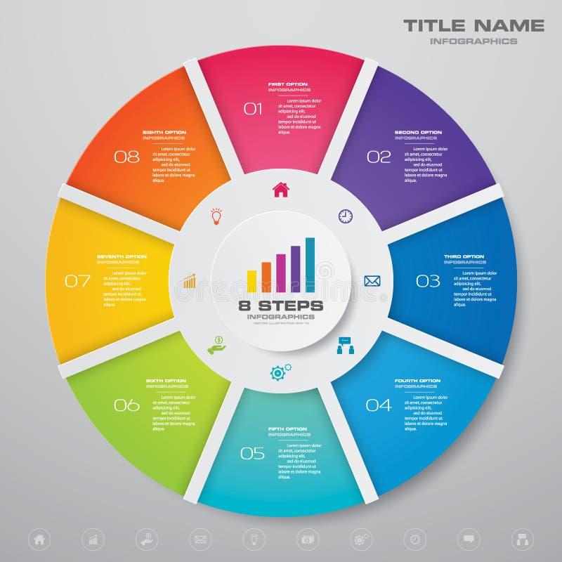 8 moment cyklar diagraminfographicsbeståndsdelar för datapresentation stock illustrationer
