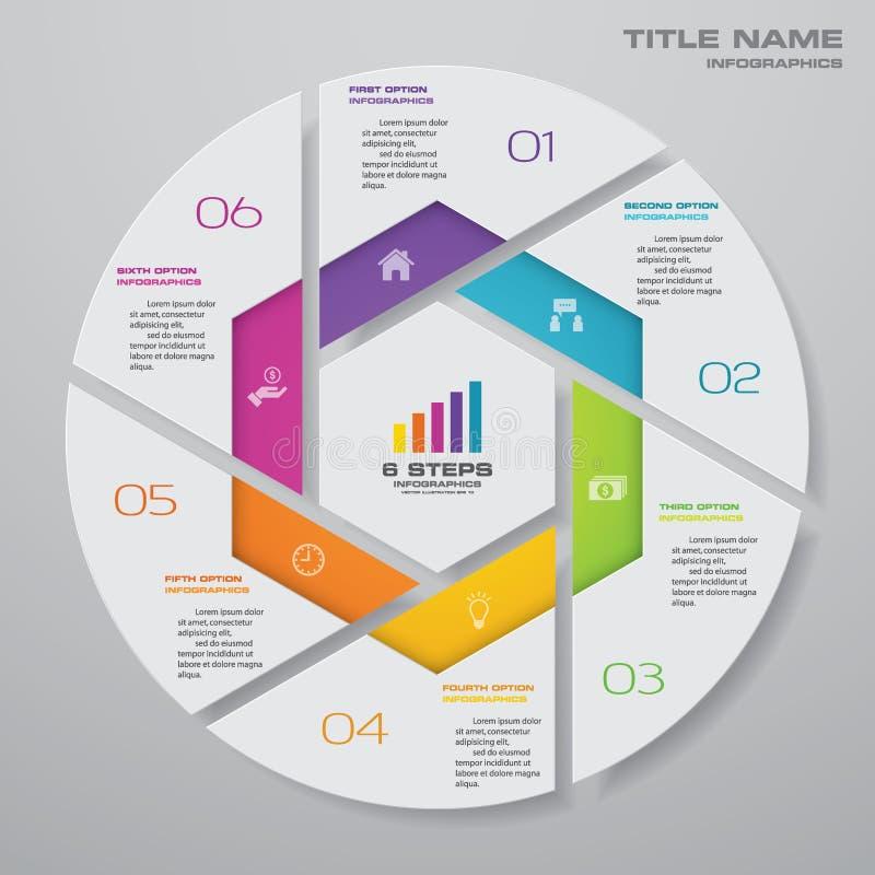 6 moment cyklar diagraminfographicsbeståndsdelar för datapresentation stock illustrationer