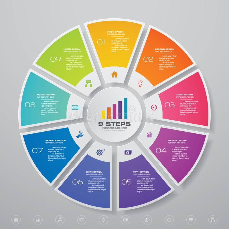 9 moment cyklar diagraminfographicsbest?ndsdelar f?r datapresentation royaltyfri illustrationer