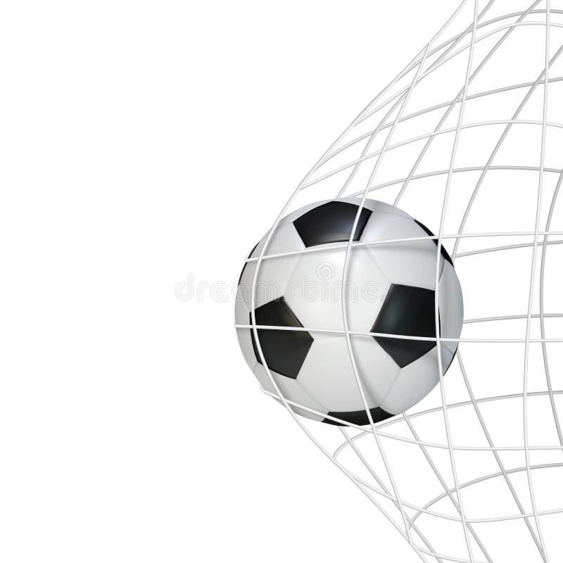 Moment de but de match de jeu de football avec la boule dans le filet Illustration de vecteur d'isolement sur le fond blanc illustration libre de droits