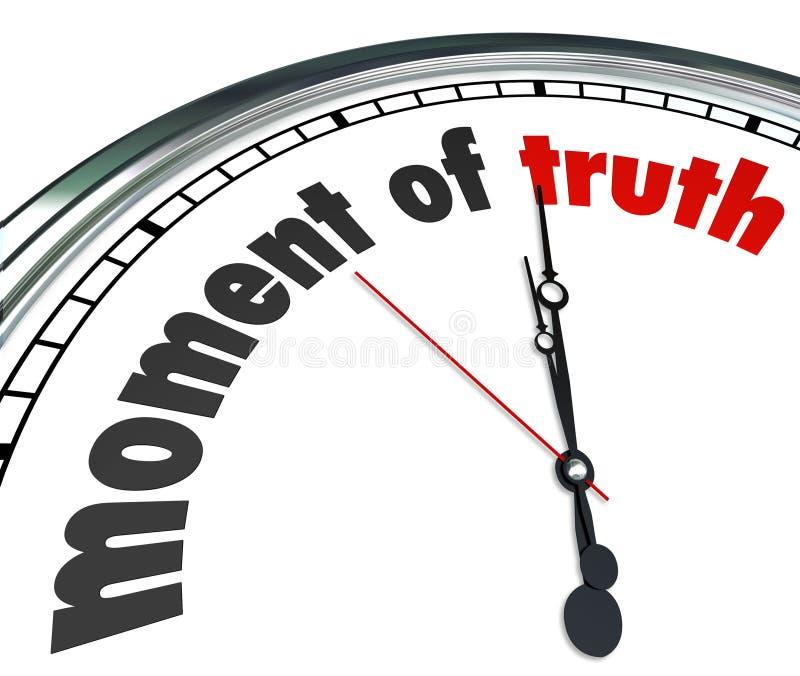 Moment des Wahrheits-Uhr-Antwort-Ergebnis-Urteilsspruches verkündet stock abbildung