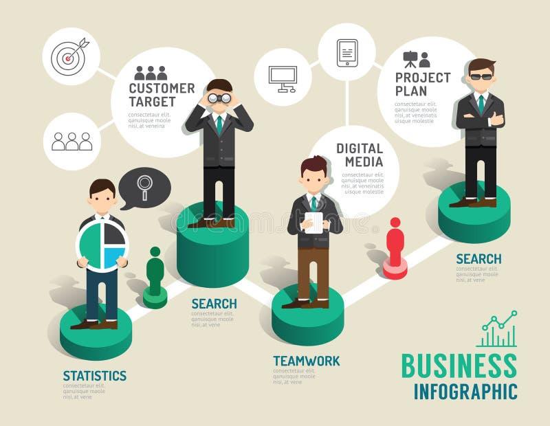Moment för begrepp för affärsbrädelek infographic till lyckat royaltyfri illustrationer