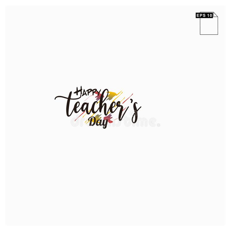 Moment happy teachers day lettering art font royalty free stock images