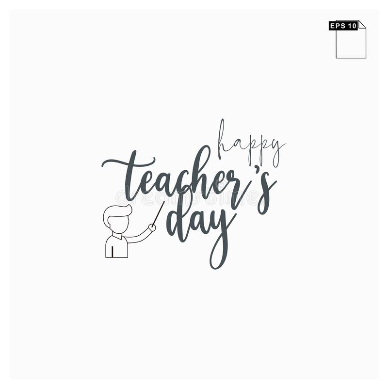 Moment happy teachers day lettering art font royalty free stock image