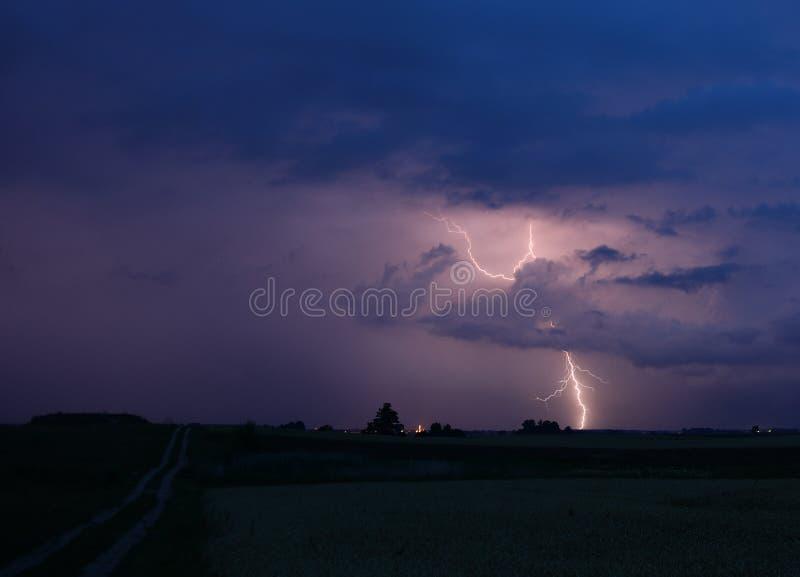 Lightning bolt hits ground on storm stock image