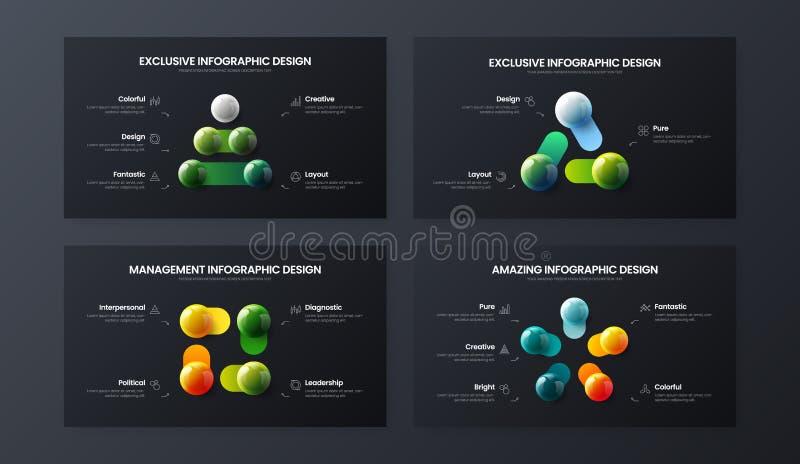 3 4, moment som 5 marknadsför packen för mall för analyticsvektorillustration Orientering för samling för design för visualizatio stock illustrationer