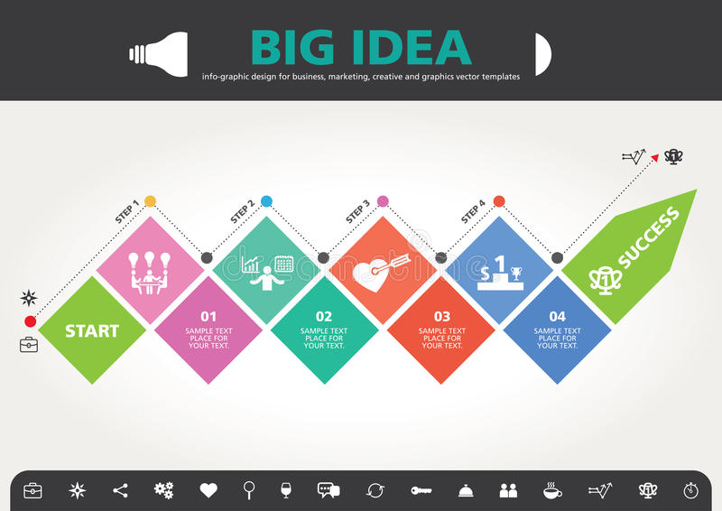 4 moment till designen för modern information om framgångmall den grafiska royaltyfri fotografi