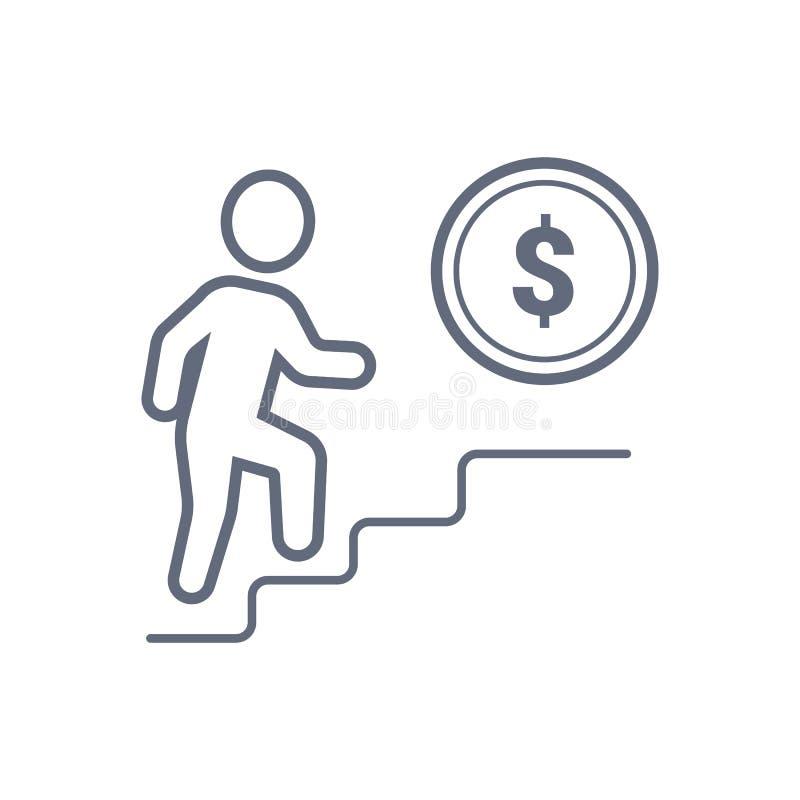 Moment till pengar, mynt, vektoraffärsidéillustration Linje symbol royaltyfri illustrationer