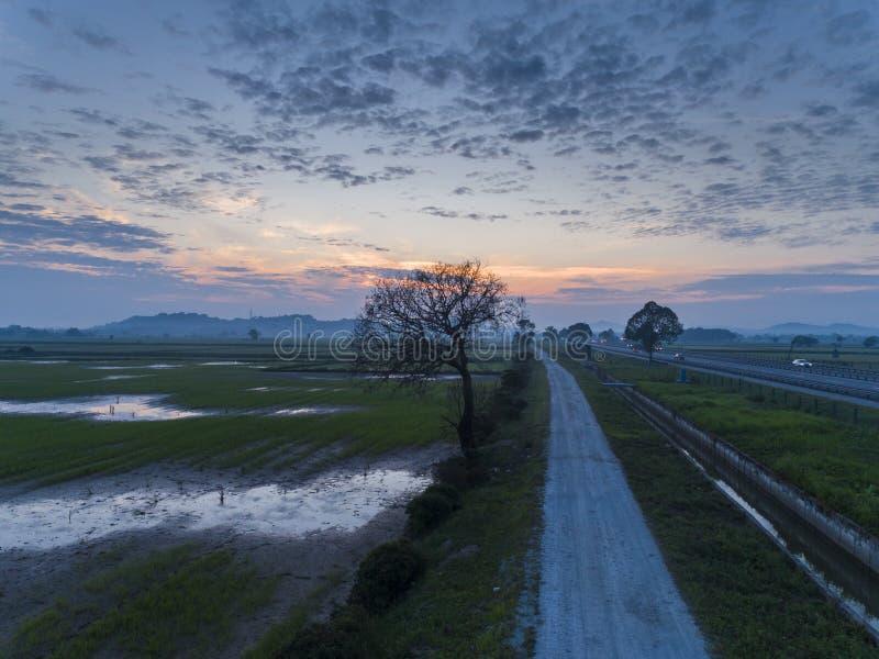 Momento aereo scenico di alba fotografie stock libere da diritti