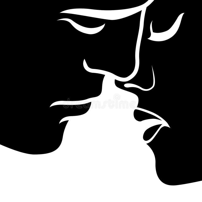 Momento antes do beijo entre homem e mulher ilustração stock