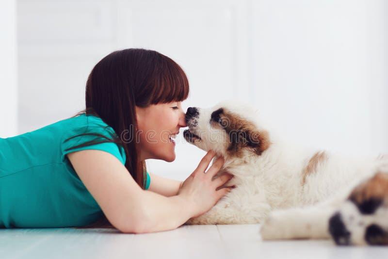 Momento engraçado do cachorrinho bonito que lambe a jovem mulher de riso fotografia de stock royalty free