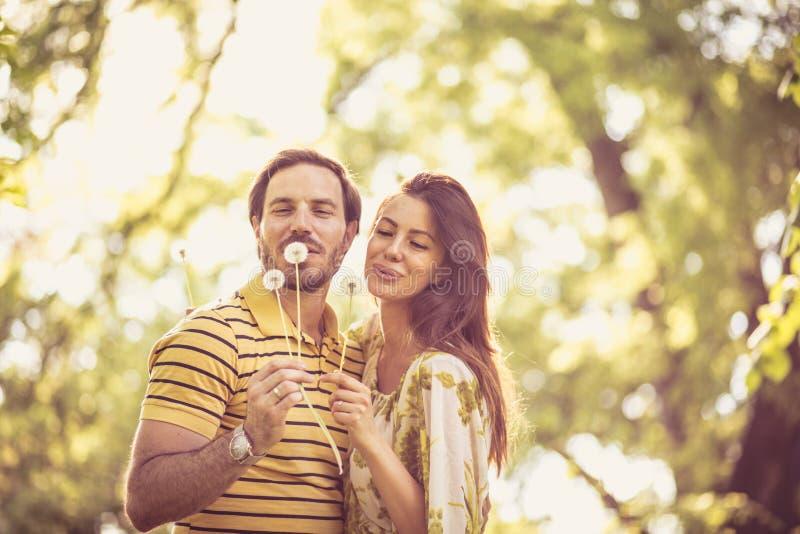 Momentos da mola Os pares felizes apreciam na natureza na estação de mola foto de stock royalty free