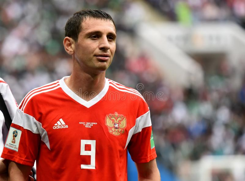 Momentos de Alan Dzagoev do meio-campo do russo depois que sofreu um inj fotos de stock royalty free