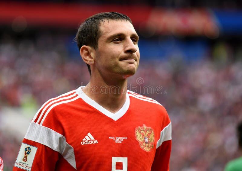 Momentos de Alan Dzagoev do meio-campo do russo depois que sofreu um inj imagens de stock royalty free