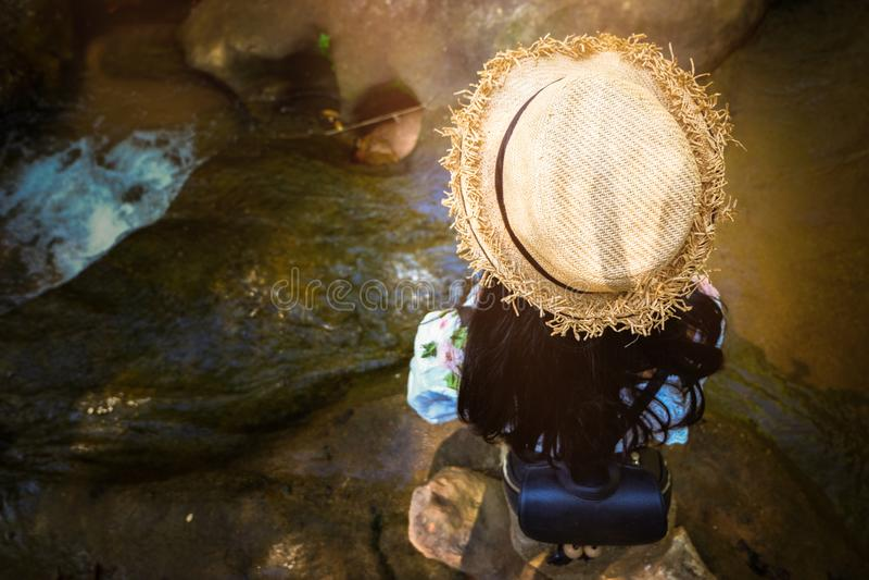 Momentos de relaxamento, menina asiática durante as atividades de caminhada na floresta no por do sol, apreciando na natureza foto de stock royalty free