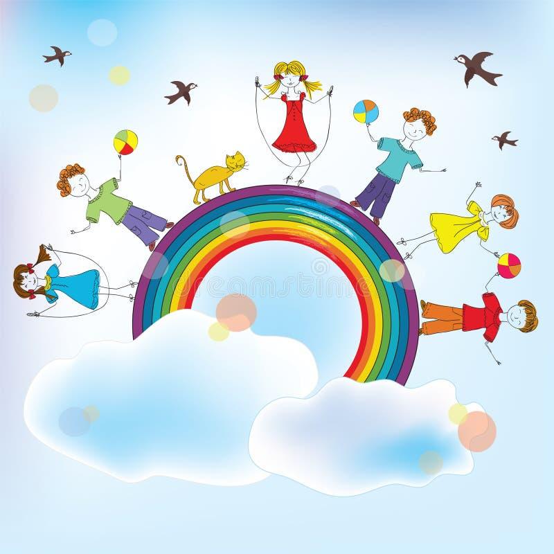 Moments of children joy. On the rainbow stock illustration