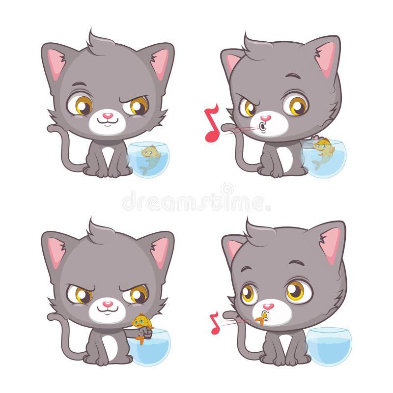 Moments gris mignons de chat illustration de vecteur