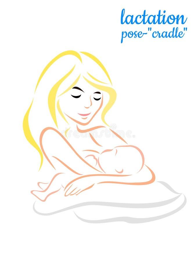 Momia con la cuna de la actitud de la lactancia de la maternidad del bebé ilustración del vector