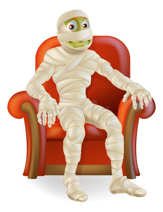 Momia de Halloween en silla stock de ilustración