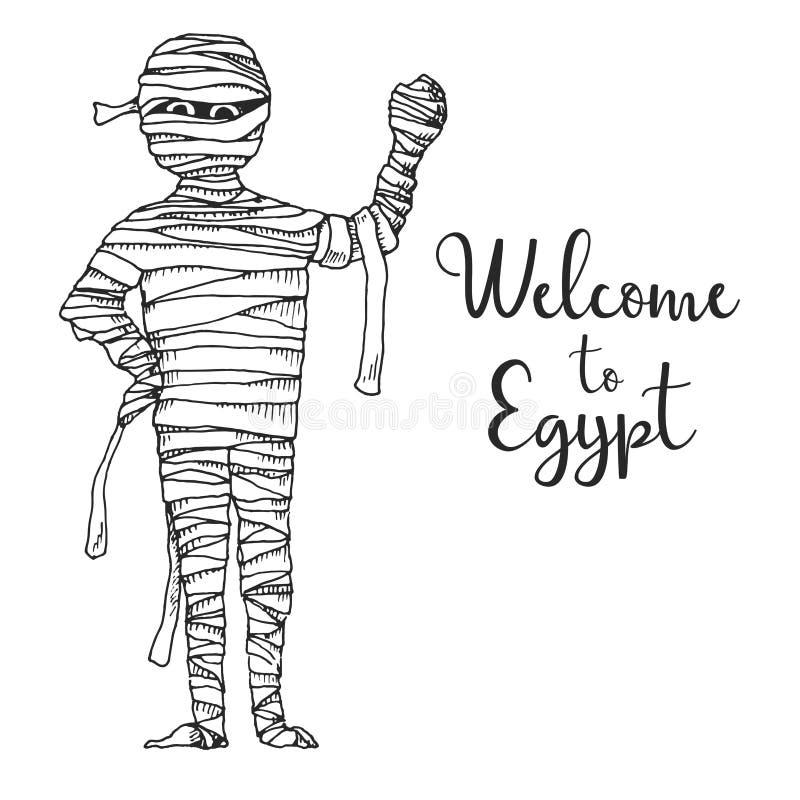 Momia de la historieta del bosquejo Ilustración del vector Recepción del texto a Egipto stock de ilustración