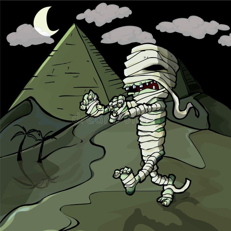 Momia egipcia de la historieta asustadiza delante de las pirámides libre illustration