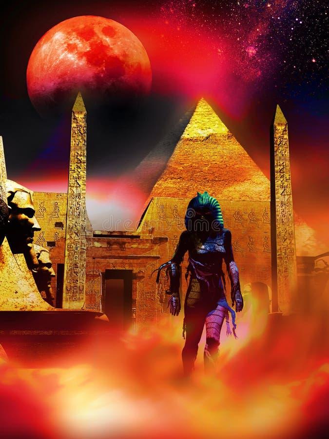 Momia que se vuelve debajo de la luna roja libre illustration