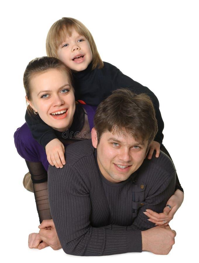 Momie heureuse de famille, le papa, le fils images stock