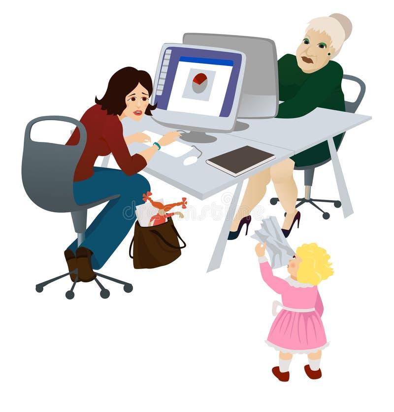 Momie travaillante dans le bureau illustration de vecteur