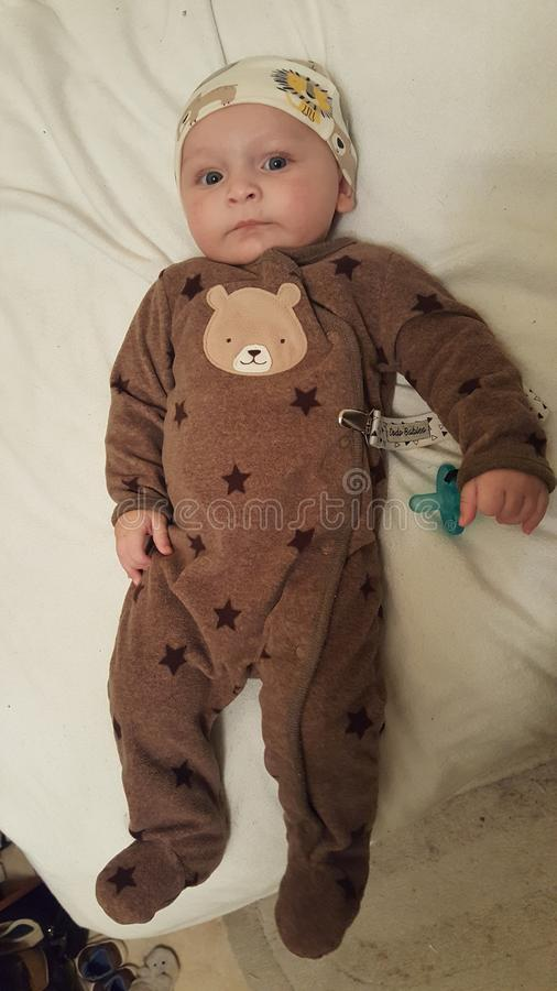 MOMMIE`S CUTE LITTLE PRECIOUS BLUE EYED 4 MONTH OLD BABY BOY royalty free stock photography