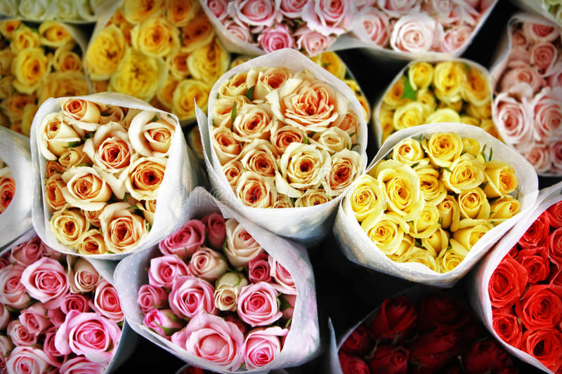 Download Mommy Bouquets, Colored Roses - Top View Stock Image - Image: 23480787