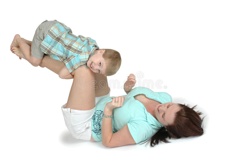 Mommy and Child Exercise royalty free stock photography
