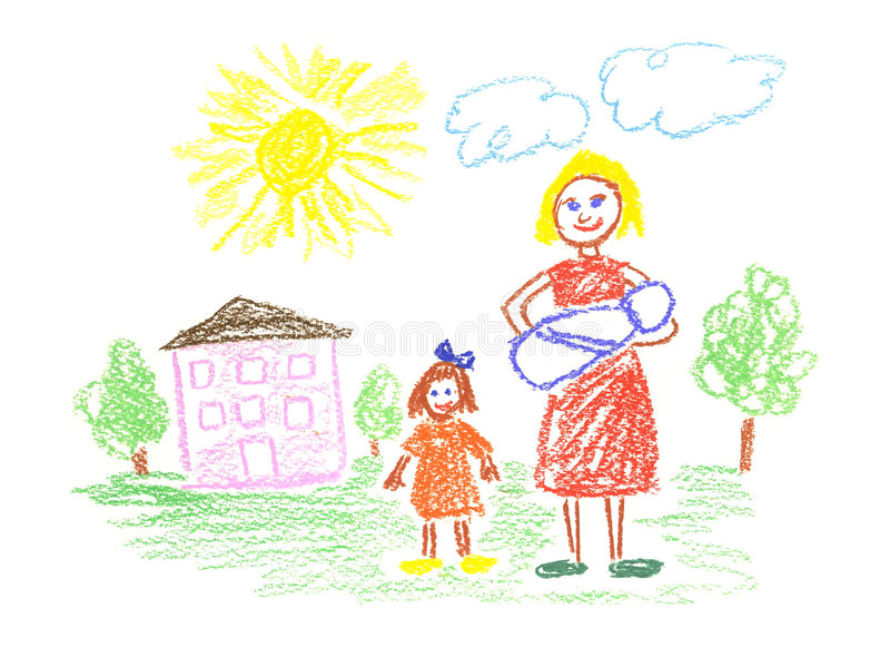 Mommy and children stock illustration