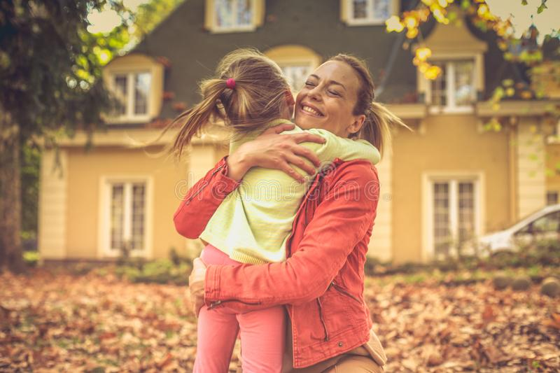 Mommy is important thing on the world. Autumn season stock photo