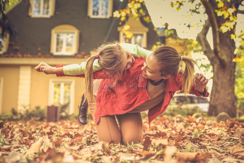 Mommy is important thing on the world. Autumn season stock photos