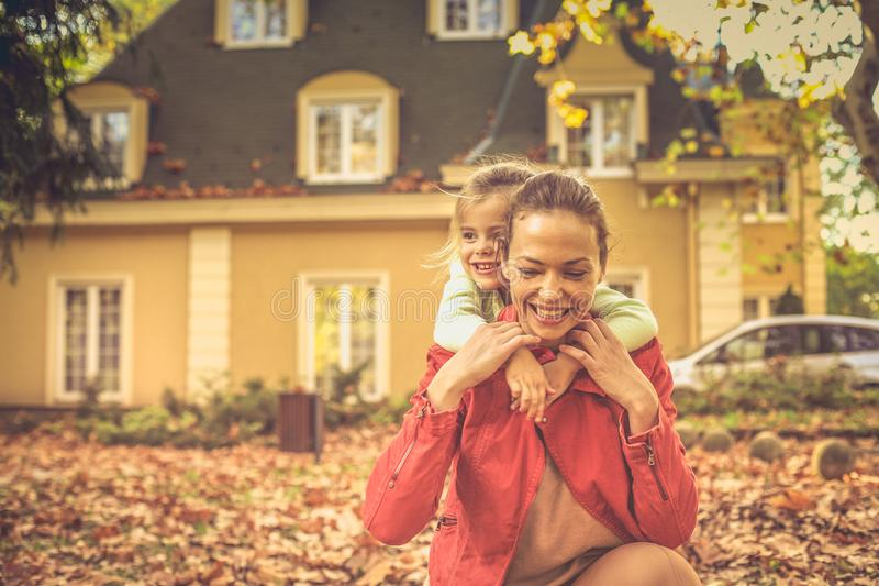 Mommy is important thing on the world. Autumn season stock images
