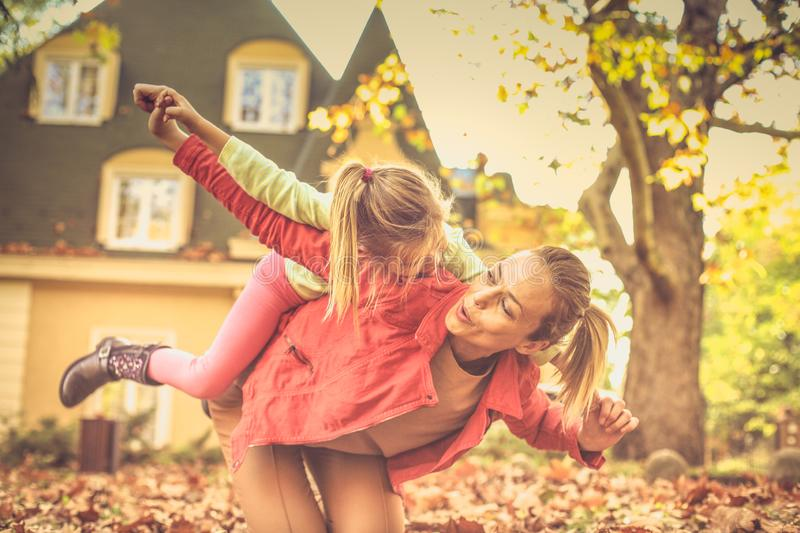 Mommy is important thing on the world. Autumn season royalty free stock photos