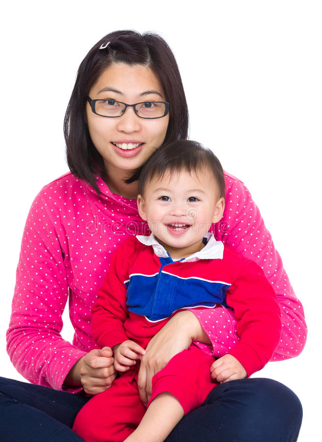 Mommy and little baby stock photos