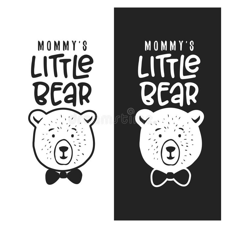 Mommy little bear kid clothes design. Vector vintage illustration. vector illustration