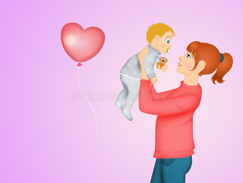 Mommy with little son stock illustration