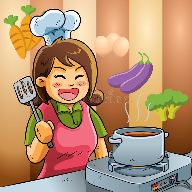 Mommy Love Cooking royalty free illustration